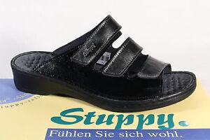 stuppy-Ciabatte-Donna-Sandali-sandali-sandaletti-PELLE-NERO-Grigio-NUOVO