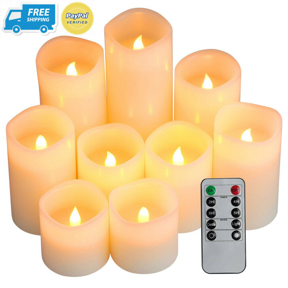 Comenzar Flameless Candles, Battery Candles Set of 9(D3 x H3 4  5  6  7  8 )...