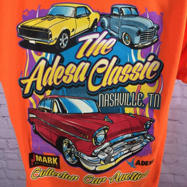 Adesa Classic T Shirt Nashville Tn Collector Car Auction Orange 50 50 Size Large Ebay