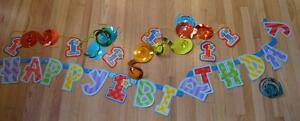 7.5 ft. Happy BIRTHDAY PARTY SUPPLY DECORATIONS Banner Swirl DECOR- 1st BDAY