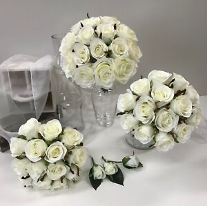 Silk wedding flowers white roses bridal bouquets white artificial image is loading silk wedding flowers white roses bridal bouquets white mightylinksfo