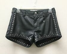 Free People Studded Faux Leather Shorts in Black Size 4 Brand New