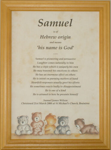 New Baby Newborn Name Meaning Christening Baptism Gift