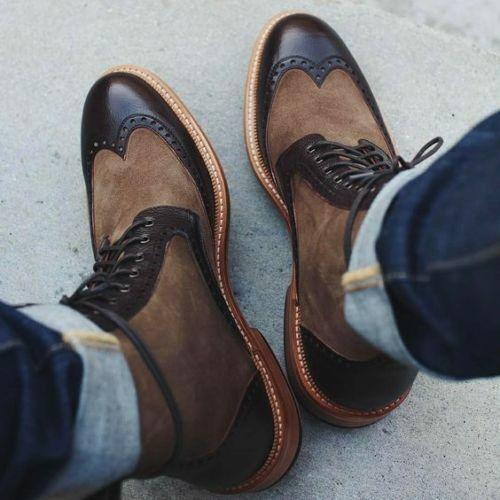 botas Para Hombre Dos Tonos Hecho A Mano formal mezclas de gamuza suela de Cuero con Cordones Tobillo Alto
