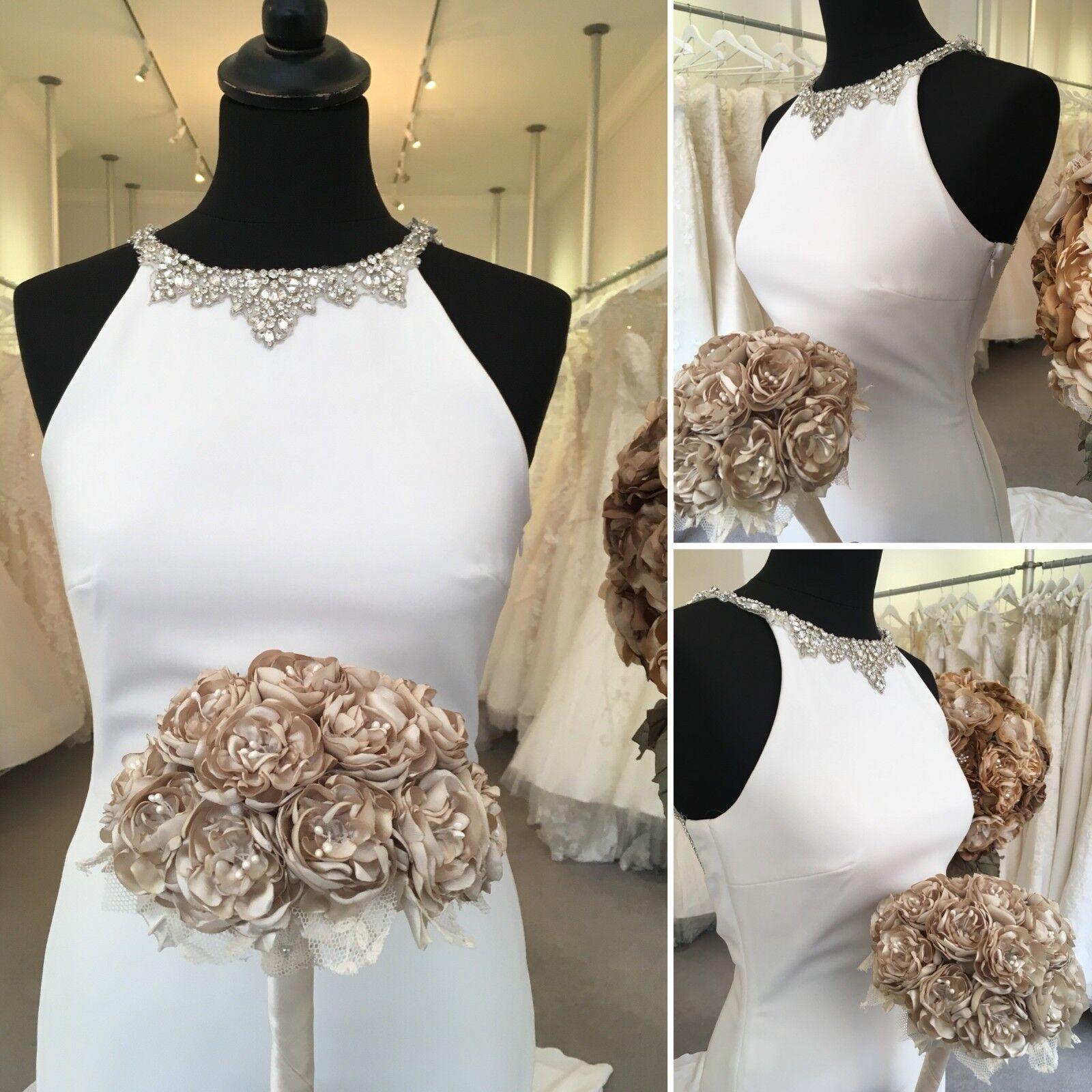 Robe de Mariage Bouquet Posy champagne fleurs style vintage unique faite main