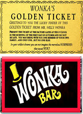 A5 Oblea papel Willy Wonka Bar Y Golden Ticket Comestibles ** Cake Topper **
