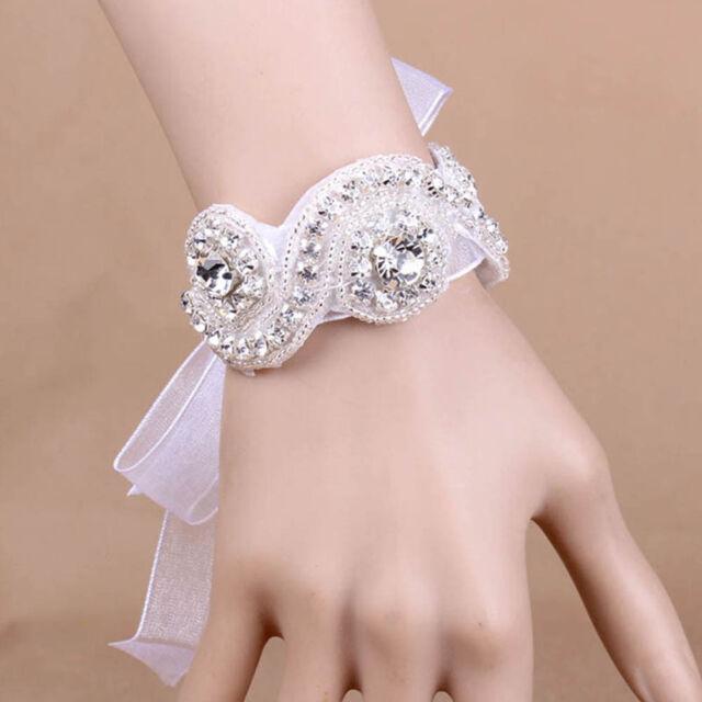 Newest Women Bridal White Crystal Applique Bracelet Ribbon Wristlet Jewelry-/