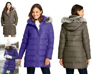 $209 NWT Lands End Womens Down Asymmetrical Long Coat S XL M,L