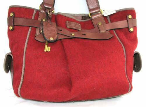 198 Leather W Wool Fossil Trim Msrp nieuw brown Adrina Tote Handtas Red Large qw7Z6