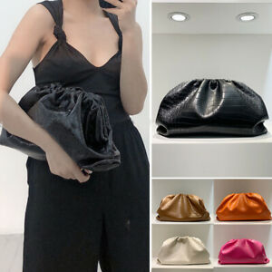 Croc-Ruched-Real-Leather-Clutch-Pouch-Shoulder-Bag-Crossbody-Purse-Party-Evening