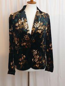 Womens-Blazer-Cynthia-Rowley-Jacket-Black-Green-Gold-Floral-One-Button-Size-M