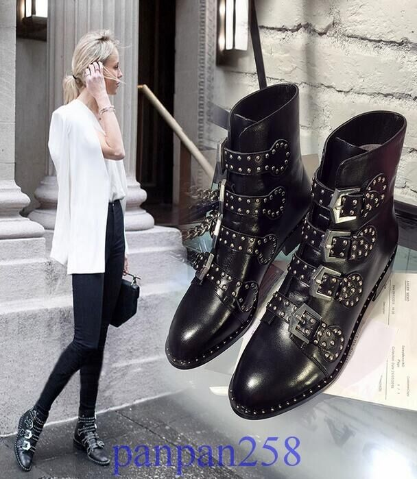 Ladies Punk Real Leather Studded Buckle Strap Ankle Boots Women Shoes Plus Size