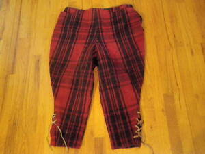 Vintage Black Red Wool Plaid Hunting Pants Men Waist 36 Lace Up Over
