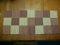 Primitive Country Patchwork Table Runner Mustard/burgundy 14 X 33