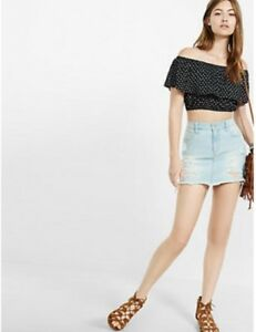 95aabc4269c4e EXPRESS Small BLACK   WHITE IKAT PRINT OFF THE SHOULDER CROPPED TOP ...