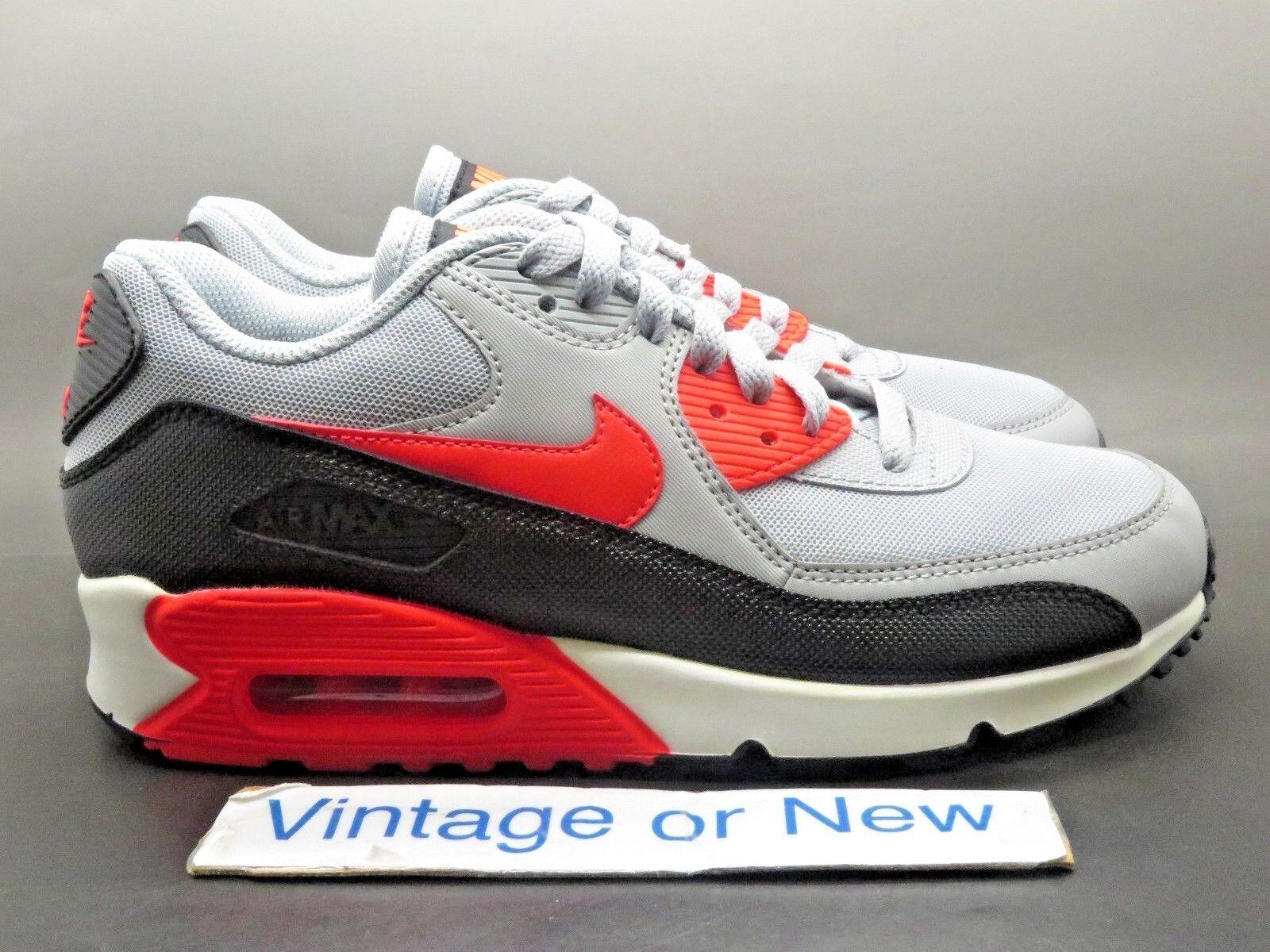 Women's Nike Air Max '90 Essential Wolf Grey Infrared Black White Running sz 8.5