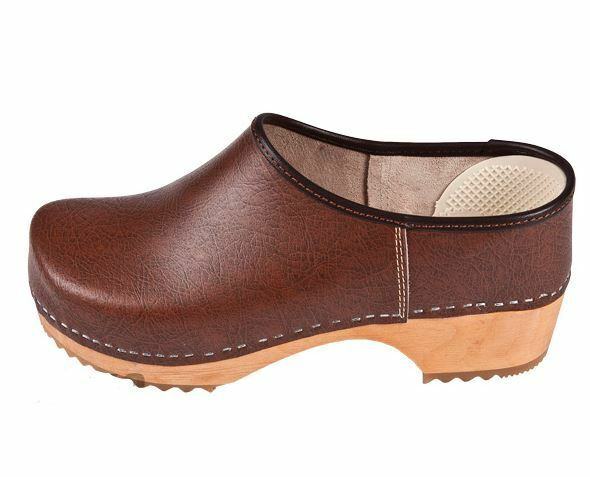 donna  Wooden closed leather clogs  ZF1  Marronee Coloreee      US scarpe Dimensione