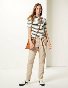 LADIES M/&S NAVY LINEN BLEND TAPERED LEG TROUSERS 6,8,12,14,16,22M