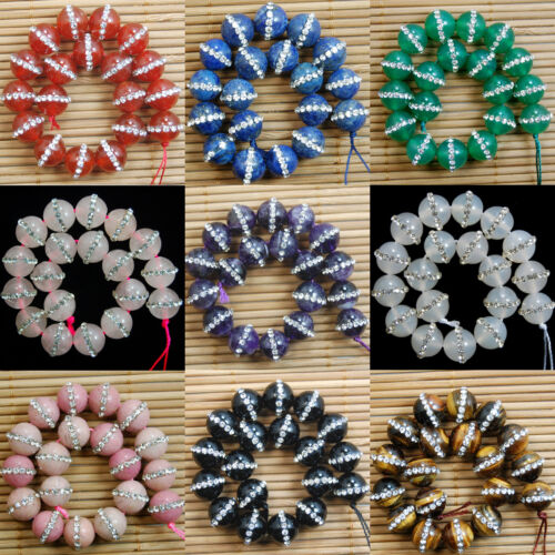 """Natural Gemstone Tchèque Cristal strass PAVE PERLES rondes 7.5/"""" 6 mm 8 mm 10 mm"""