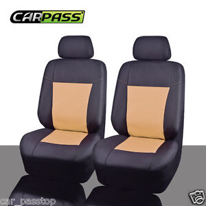 Universal-2-front-Car-Seat-Cover-Beige-Black-Waterproof-fit-for-Holden-Honda-VW