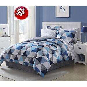bed set 8 pc bedding comforter shams bedroom blue gray white triangles full size 5314655434260. Black Bedroom Furniture Sets. Home Design Ideas