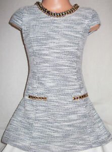 GIRLSCLASSIC-GREY-WHITE-MARBLE-PRINT-SLUB-KNIT-GOLD-NECKLACE-TRIM-DRESS-age-3-4
