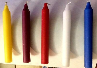 """Lot of 30 x 6/"""" Taper Spell Candles 10 purple 10 black 10 red"""