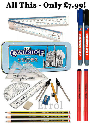 Helix 18 Pieces Back  to School Stationery Set Quality Brands Staedtler etc