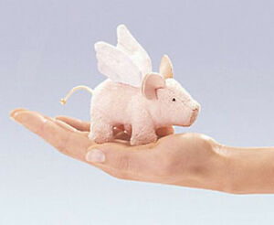 Mini-WINGED-PIGLET-Finger-Puppet-2685-FREE-SHIP-in-USA-Folkmanis-Puppets