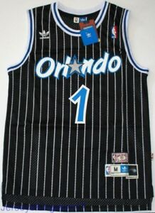 more photos a7f5d c1cc3 Details about Throwback Hardwood Jersey TRACY McGRADY 1 Orlando Magic Black  Striped Mens NWT