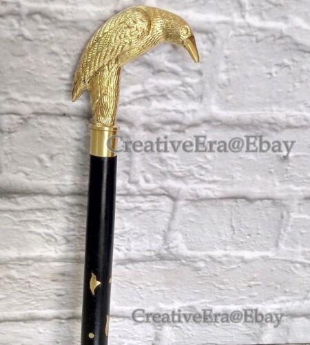 Antique Brass Crow Head Handle Walking Stick Black Wooden Brass Inlaid Cane Gift