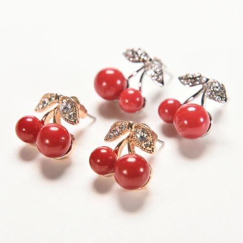 Frauen Charme Rote Kirsche Ohrringe Nette Perlen Strass Blatt Ohrstecker