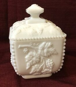 White Milk Glass Small Covered Compote Candy Dish by ...