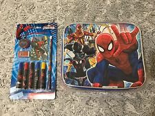 "Marvel Ultimate Spider-Man 9"" Kids Lunch Box Bag With Strap Free Stationery Set"