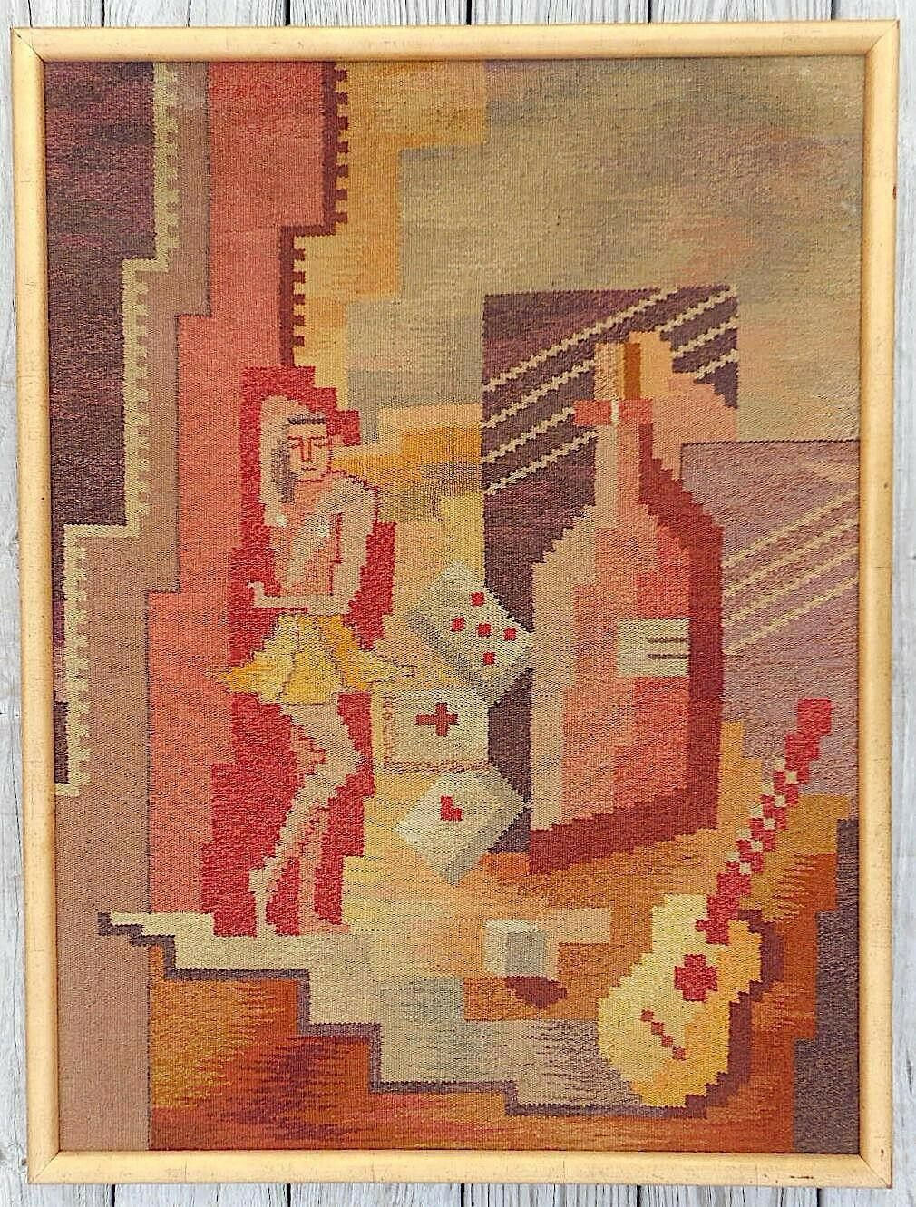 Vintage Mid 20th Century Cubist Casino Tapestry-Hand Woven-c.1950's