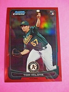 2012 Bowman Chrome Tom Tommy Milone #d/5 RC Rookie RED REFRACTOR Athletics MINT