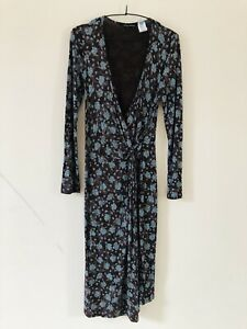 Laura-Ashley-Brown-Bleu-Imprime-Floral-Robe-portefeuille-STRETCH-Taille-12-A0920
