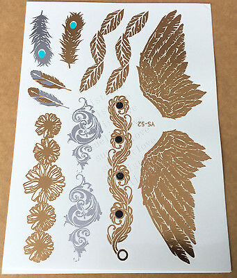 Temporary Metallic Tattoo Gold Silver Black Flash Tattoos Inspired Angel Wings 1