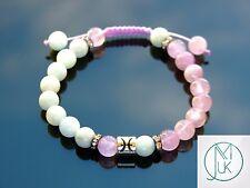 Pisces Aquamarine Rose Quartz Birthstone Bracelet 7-8'' Macrame Healing Stone