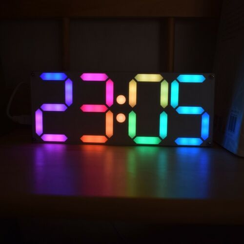Large Inch Rainbow Color Tube Digital DS3231 Clock DIY kit w// customizable color