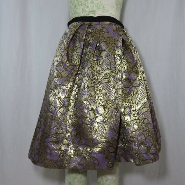 475dd6607afd Marni Gold Purple Metallic Brocade Pleated Skirt 8 Floral for sale ...