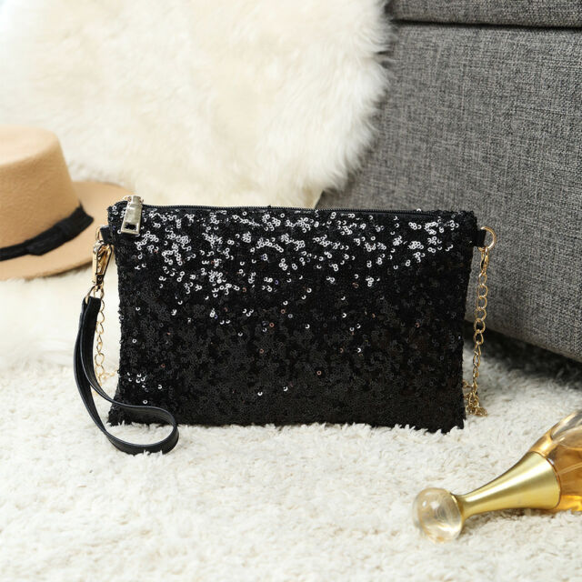 25797cb2677f Ladies Designer Sequins Evening Bag Clutch Purse Chain Handbag Shoulder Bag