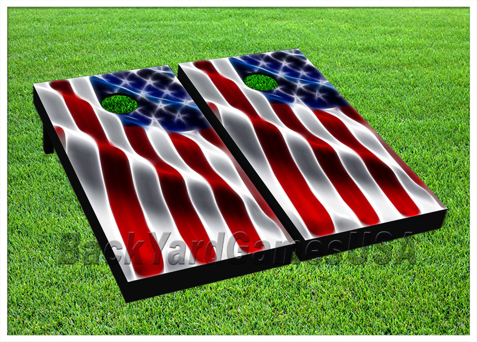 CORNHOLE BEANTasche TOSS GAME w Tasches Game Boards USA American Flag Stars Set 1134