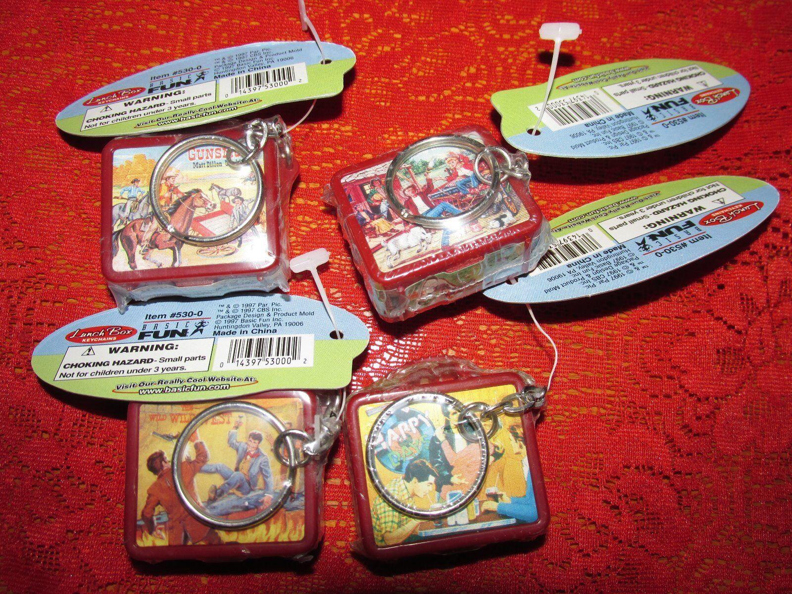 Lote de 1997 Basic Fun Coleccionables Caja de almuerzo Llaveros Colección de 4 Nuevo con Etiquetas Menta