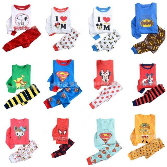 Baby Toddler Kids Disney Cartoon Sleepwear Pajamas Set boy girl size1.2.3.4.5.67