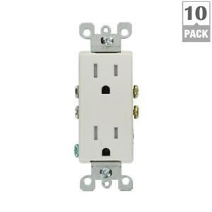 Leviton Electrical Wall Duplex Outlet Receptacle Plug Set 15 Amp 10 Pack White