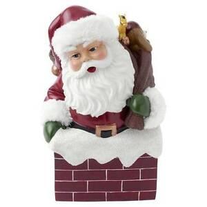 Hallmark Christmas Musical Santa in Chimney Figurine Music Box New