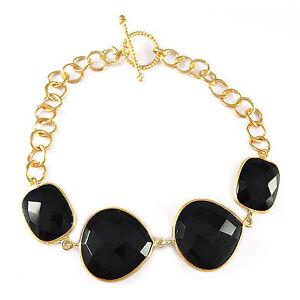 AAA-Black-Onyx-gemstone-bracelet-925-Sterling-Silver-8inch-gold-plated-bracelet
