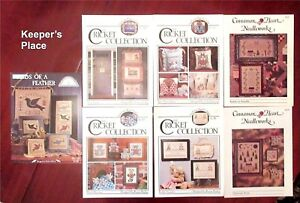 Lot-7-Counted-Cross-Stitch-Leaflets-Cricket-Collection-Cinnamon-Heart-Homespun