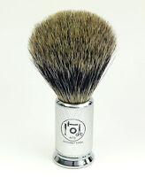 Nts-solingen Shaving Brush Badger Hair Silver-pointed Metal Grip Chrome Matte 20